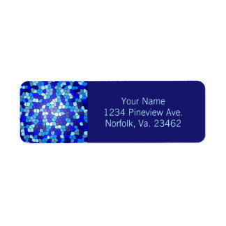 Shades Of Blue Stained Glass Return Address Label