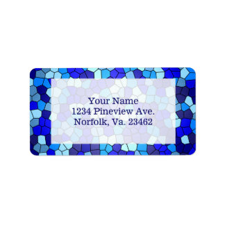 Shades Of Blue Stained Glass Address Label