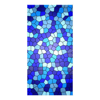 Shades Of Blue Stained Glass Personalised Photo Card