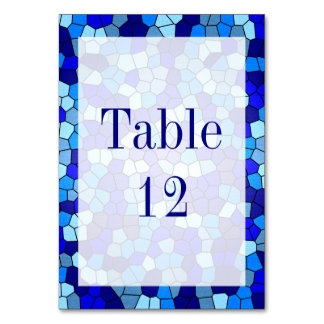 Shades Of Blue Stained Glass Table Card