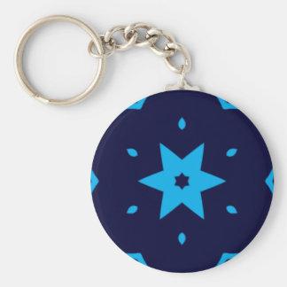 Shades of Blue Star Kaleidoscope Keychain