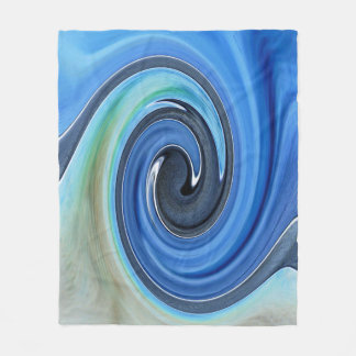 Shades of Blue Swirl Design Fleece Blanket