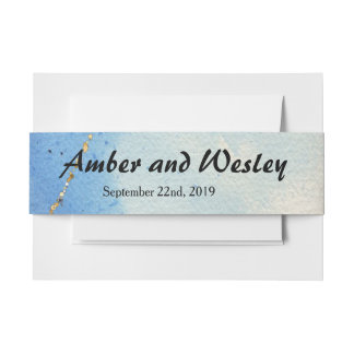 Shades of Blue Watercolor Invitation Belly Band