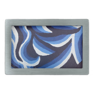 Shades of Blue Wave Abstract Rectangular Belt Buckle