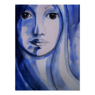"""SHADES OF BLUE WOMAN 24"""" x 18"""", Poster (Matte)"""