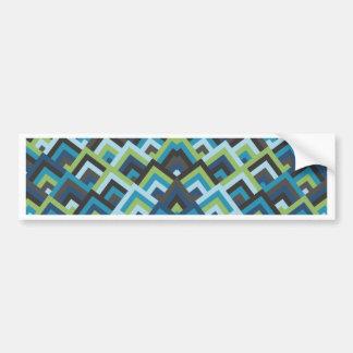 Shades of Blue Zigzag Symmetric Peeks Pattern Bumper Sticker