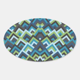 Shades of Blue Zigzag Symmetric Peeks Pattern Oval Stickers