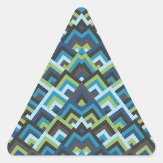 Shades of Blue Zigzag Symmetric Peeks Pattern Triangle Stickers