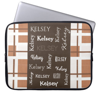 Shades of Brown Contemporary w/Name Laptop Sleeve