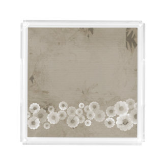 Shades of Brown Flowers Square Acrylic Tray