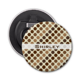 Shades of Brown Polka Dots by Shirley Taylor Bottle Opener