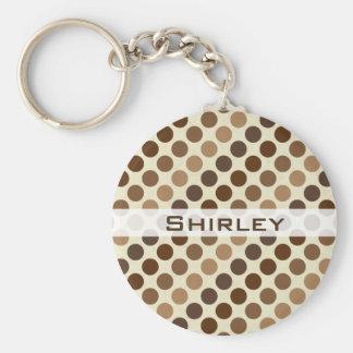 Shades of Brown Polka Dots by Shirley Taylor Key Ring