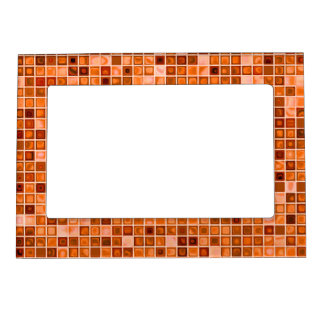 Shades Of Copper 'Watery' Mosaic Tile Pattern Photo Frame Magnets