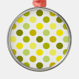 Shades of Gold Polka Dots Silver-Colored Round Decoration