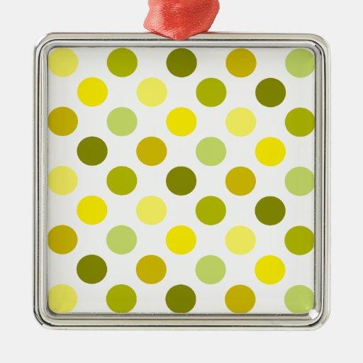 Shades of Gold Polka Dots Christmas Tree Ornaments