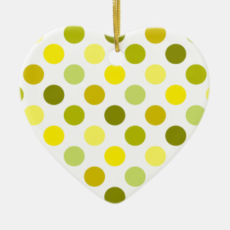 Shades of Gold Polka Dots Double-Sided Heart Ceramic Christmas Ornament