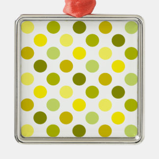 Shades of Gold Polka Dots Silver-Colored Square Decoration