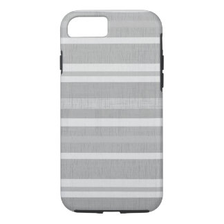 Shades of Gray and White Linen Look Stripes iPhone 7 Case