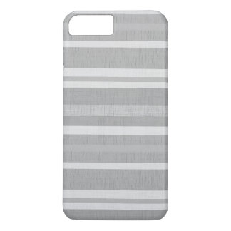 Shades of Gray and White Linen Look Stripes iPhone 7 Plus Case