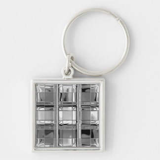 Shades of Gray Glass Mosaic Silver-Colored Square Key Ring
