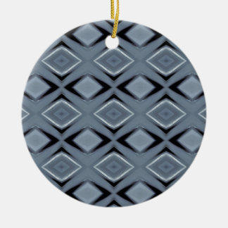 Shades of Gray Modern Geometric Pattern Round Ceramic Decoration
