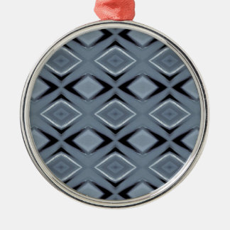 Shades of Gray Modern Geometric Pattern Silver-Colored Round Decoration