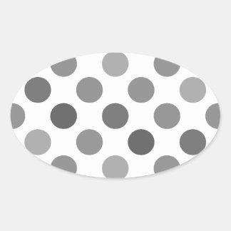 Shades Of Gray Polka Dots Oval Stickers