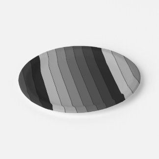 Shades of Gray Stripes Pattern Elegant Paper Plate