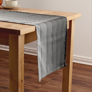 Shades of Gray Stripes Pattern Elegant Short Table Runner