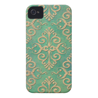 Shades of Green and Gold Distressed Damask Case-Mate iPhone 4 Case