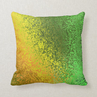 Shades of Green and Gold Pattern Pillow Cushion