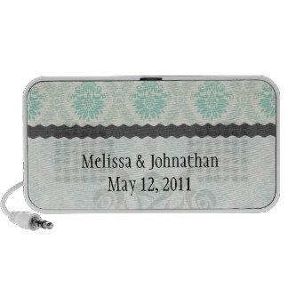shades of green and ivory damask wedding keepsake laptop speakers