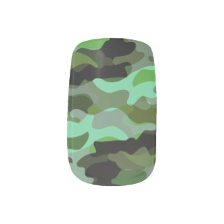 Shades of Green Camouflage Minx Nail Art