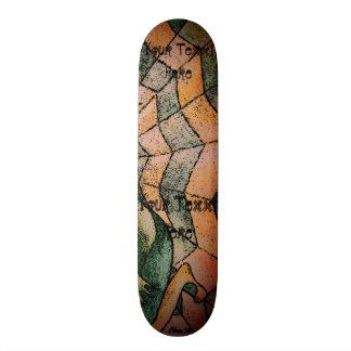 shades of green chevron cobweb abstract retro art skate board decks