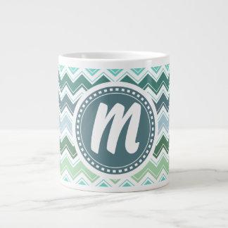 Shades of Green Elegant Chevron Pattern Large Coffee Mug