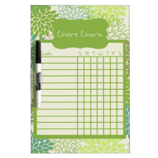 Shades of Green Floral Chore Chart Dry Erase Board