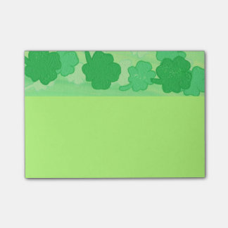 Shades of Green Shamrocks Post It Notes