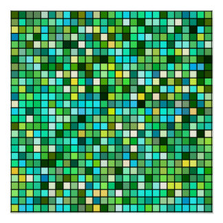 Shades Of Green Yellow And Blue Squares Pattern Posters