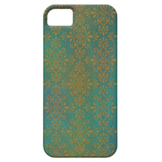 Shades of Greens and Gold Damask iPhone 5 Covers