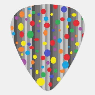 Shades of Grey w/Rainbow Polka Dots Guitar Pick