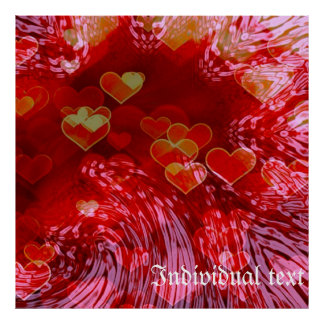 shades of hearts,red poster