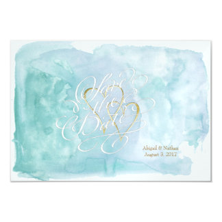 Shades of Oceanic Blue Watercolor Save The Date Card