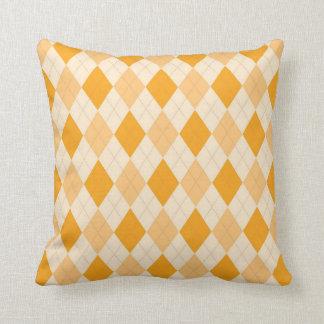 Shades of Orange/Gold Argyle Throw Pillow