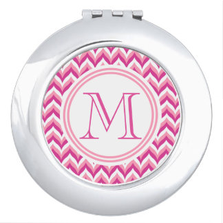 Shades Of Pink And White Zigzag Chevron Pattern Mirror For Makeup