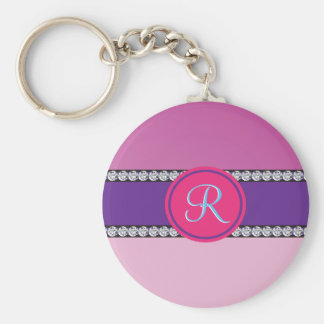 Shades of Pink Purple Mauve Monogram Initial Basic Round Button Key Ring