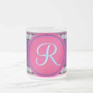 Shades of Pink Purple Mauve Monogram Initial Frosted Glass Coffee Mug