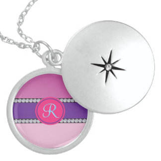 Shades of Pink Purple Mauve Monogram Initial Sterling Silver Necklace