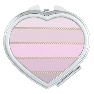 Shades of pink stripes gold beads travel mirror