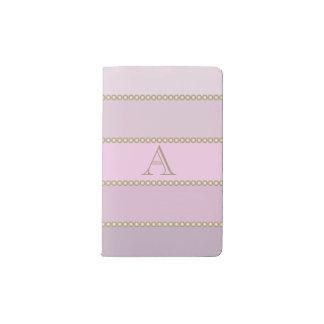 Shades of pink stripes personalized monogram pocket moleskine notebook