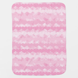Shades of Pink Valentine Hearts Baby Blanket